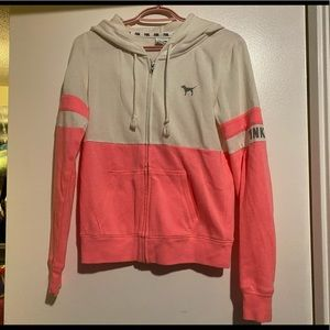 PINK Hooded Zip Up Sweater
